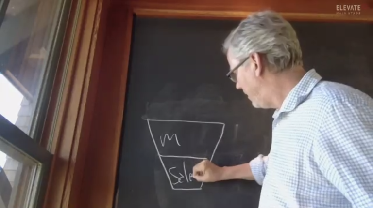 Brian Halligan drawing on chalkboard